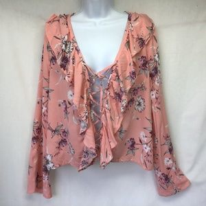 RUE 21 Blouse Pink Floral Deep V Lace Up NWT Large